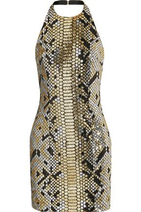 BALMAIN Metallic sequined crepe mini halterneck dress