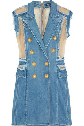 BALMAIN Georgette-paneled frayed denim mini dress