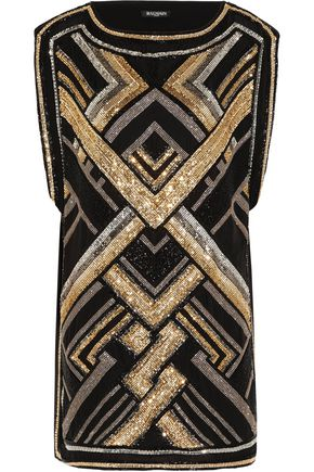 BALMAIN Embellished silk mini dress