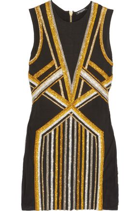 BALMAIN Crystal-embellished mesh mini dress