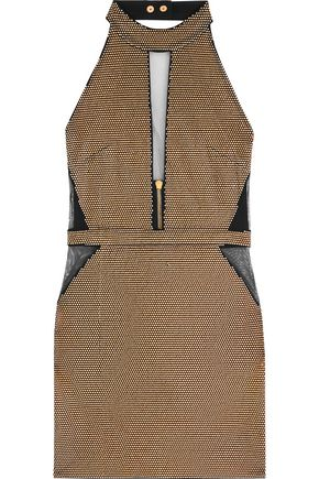 BALMAIN Stud-embellished halterneck mesh mini dress