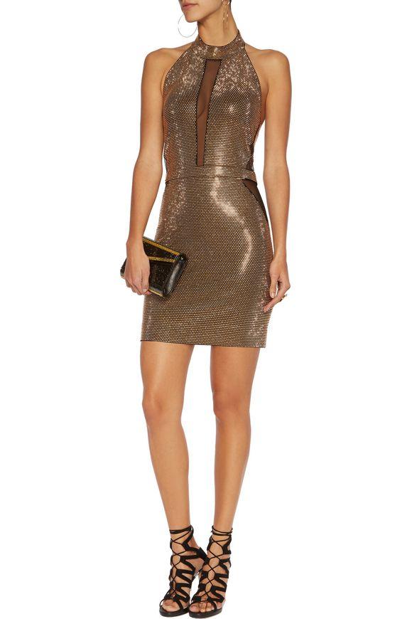 Stud-embellished halterneck mesh mini dress | BALMAIN | Sale up to 70% off  | THE OUTNET