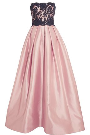 REEM ACRA Strapless silk-blend and lace gown