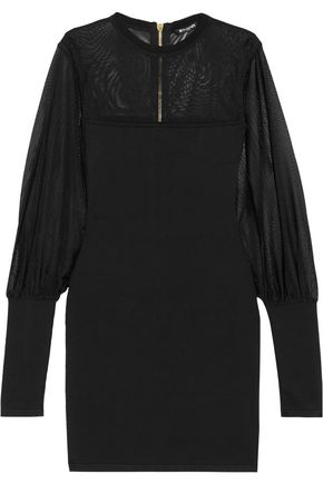 BALMAIN Paneled mesh and stretch-jersey mini dress