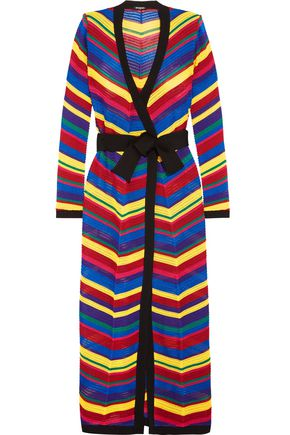 BALMAIN Belted crochet maxi wrap dress