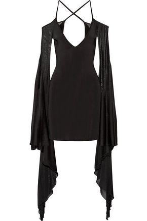 BALMAIN Open-back ruffled stretch-knit mini dress