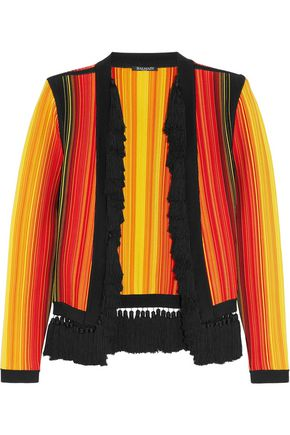 BALMAIN Tassel-trimmed stretch-knit jacket