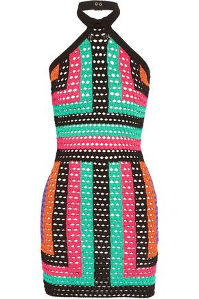 BALMAIN Crocheted mini halterneck dress