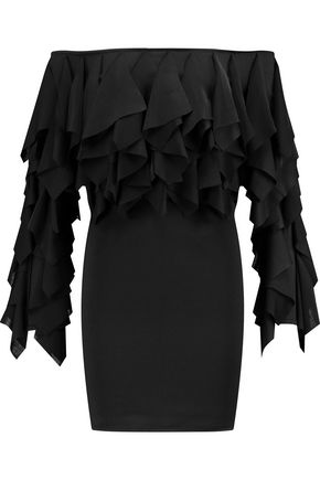 BALMAIN Off-the-shoulder ruffled stretch-twill mini dress