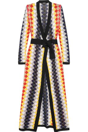 BALMAIN Wrap-effect belted metallic stretch-knit maxi dress