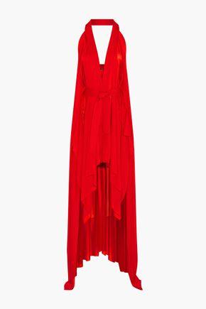 BALMAIN Draped stretch-knit halterneck dress