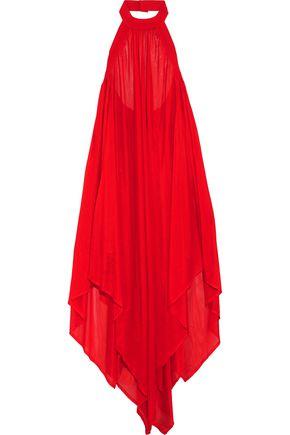 BALMAIN Stretch-knit maxi halterneck dress