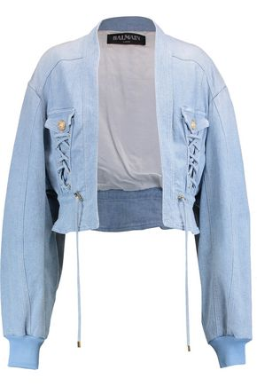 BALMAIN Eyelet-embellished denim jacket