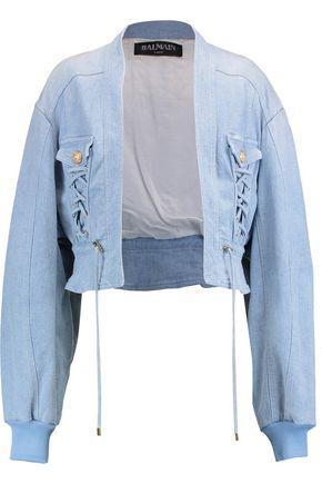 BALMAIN Eyelet-embellished denim jacket