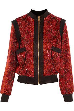 BALMAIN Embellished satin bomber jacket