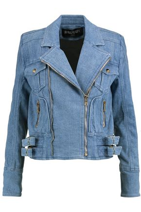 BALMAIN Denim biker jacket