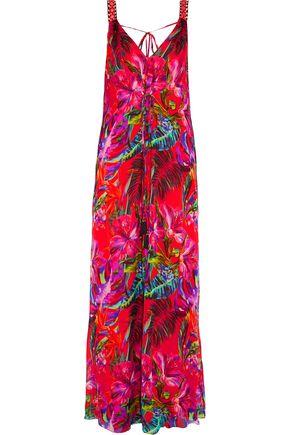 MATTHEW WILLIAMSON Embellished floral-print silk-chiffon gown
