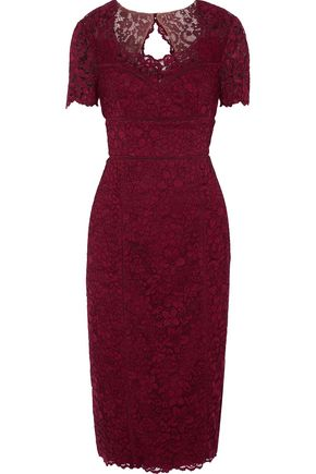 MIKAEL AGHAL Open knit-trimmed corded-lace midi dress