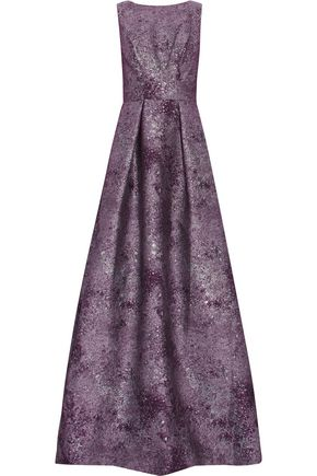 MIKAEL AGHAL Pleated metallic jacquard gown