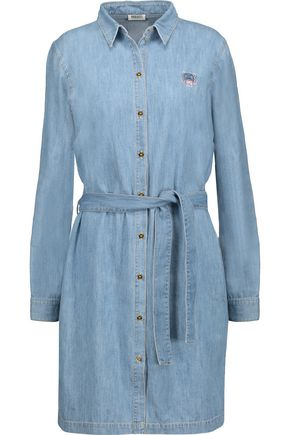 KENZO Embroidered cotton-chambray mini dress