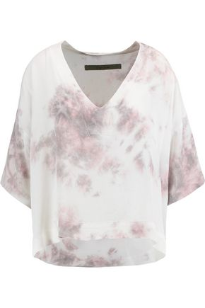 ENZA COSTA Tie-dyed cotton-crepe de chine top