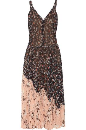 JASON WU Floral-printed plissé-chiffon midi dress