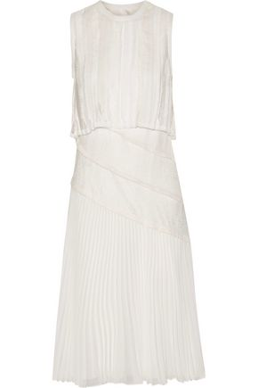 JASON WU Lace-paneled pleated crinkled-chiffon midi dress