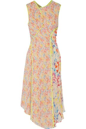 JASON WU Neon-trimmed printed silk-georgette midi dress