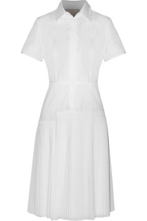 JASON WU Pleated crinkled gauze-paneled cotton-poplin dress