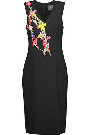 JASON WU Embroidered floral-appliquéd ponte dress