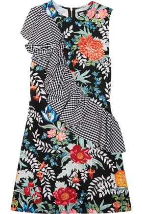 HOUSE OF HOLLAND Ruffled printed cotton-poplin and crepe mini dress