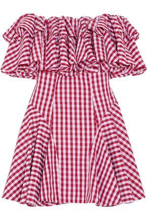 HOUSE OF HOLLAND Off-the-shoulder ruffled gingham poplin mini dress
