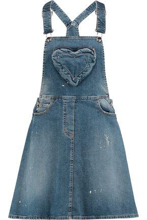 LOVE MOSCHINO Distressed stretch-denim mini dress