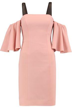 CINQ À SEPT Monroe cold-shoulder mesh-trimmed crepe mini dress