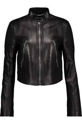 GIVENCHY Ribbed-trimmed leather biker jacket