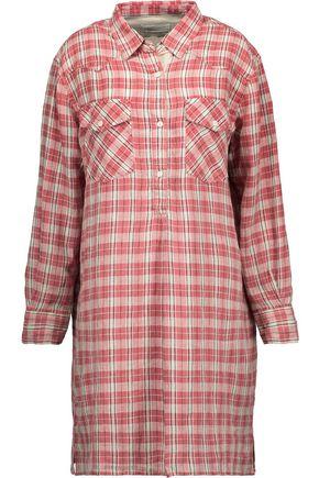 CURRENT/ELLIOTT The Levee Western plaid linen and cotton-blend mini dress