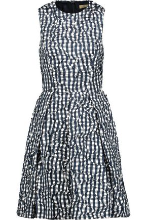 MICHAEL KORS COLLECTION Gingham crinkled-taffeta mini dress