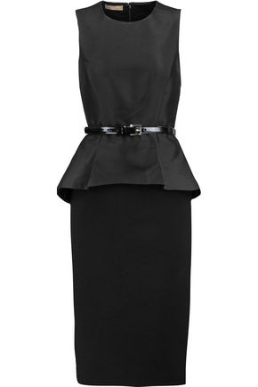 MICHAEL KORS COLLECTION Paneled stretch-wool felt and wool-blend faille dress
