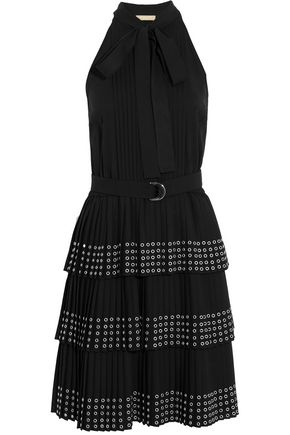 MICHAEL KORS COLLECTION Eyelet-embellished tiered crepe mini dress