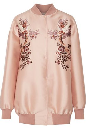 STELLA McCARTNEY Sabine embroidered satin bomber jacket