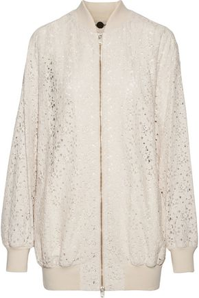STELLA McCARTNEY Simone embroidered cotton-blend corded lace bomber jacket