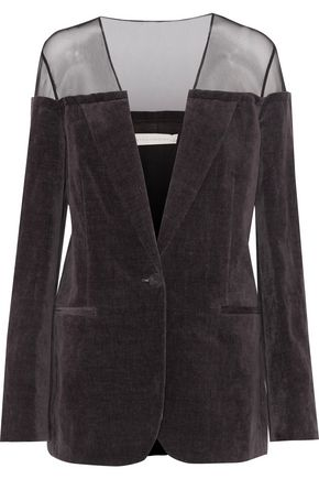 STELLA McCARTNEY Alcina tulle-paneled cotton and linen-blend velvet jacket