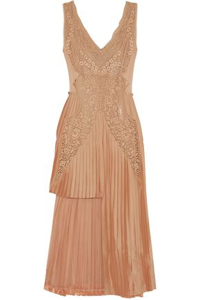 STELLA McCARTNEY Marcelle asymmetric pleated guipure lace and satin midi dress