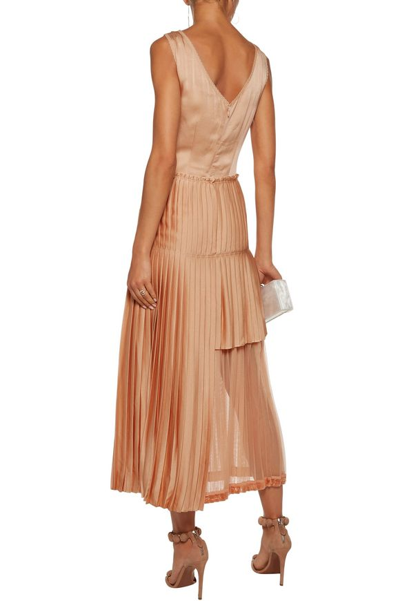 Marcelle asymmetric pleated guipure lace and satin midi dress | STELLA  McCARTNEY | Sale up to 70% off | THE OUTNET