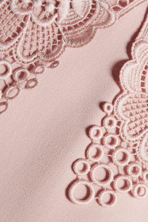 STELLA McCARTNEY Embroidered lace-paneled crepe mini dress