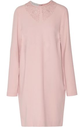 STELLA McCARTNEY Embroidered lace-paneled crepe mini dress