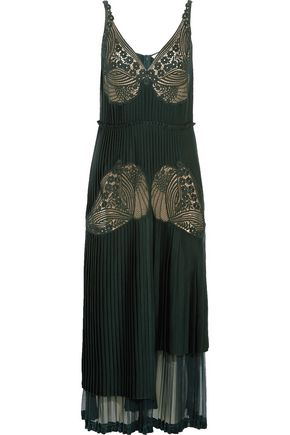 STELLA McCARTNEY Dondini lace-paneled pleated satin dress