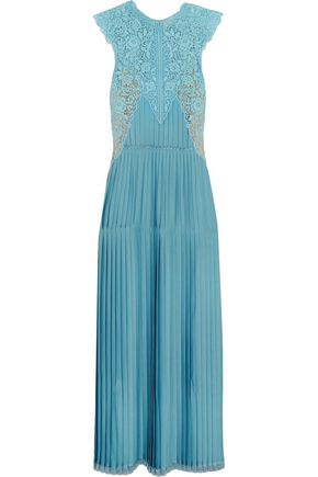 STELLA McCARTNEY Adele guipure lace-paneled pleated satin gown