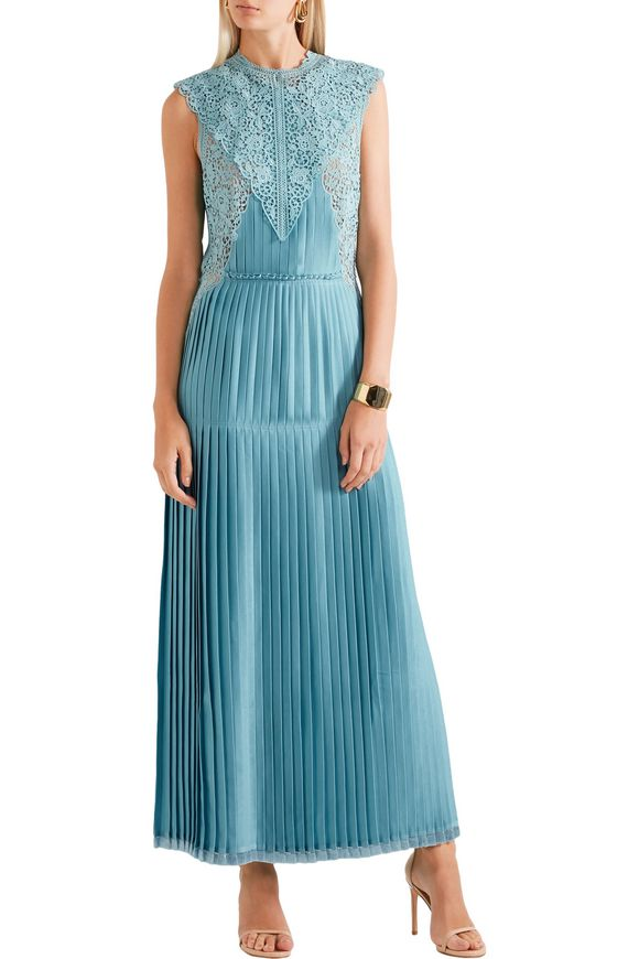 Adele guipure lace-paneled pleated satin gown | STELLA McCARTNEY | Sale up  to 70% off | THE OUTNET