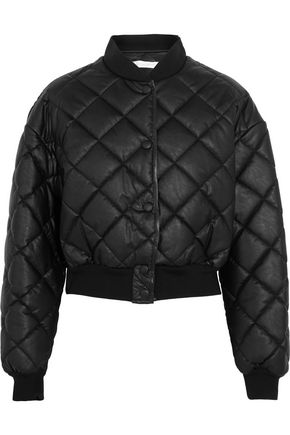 STELLA McCARTNEY Marisa cropped quilted faux leather bomber jacket